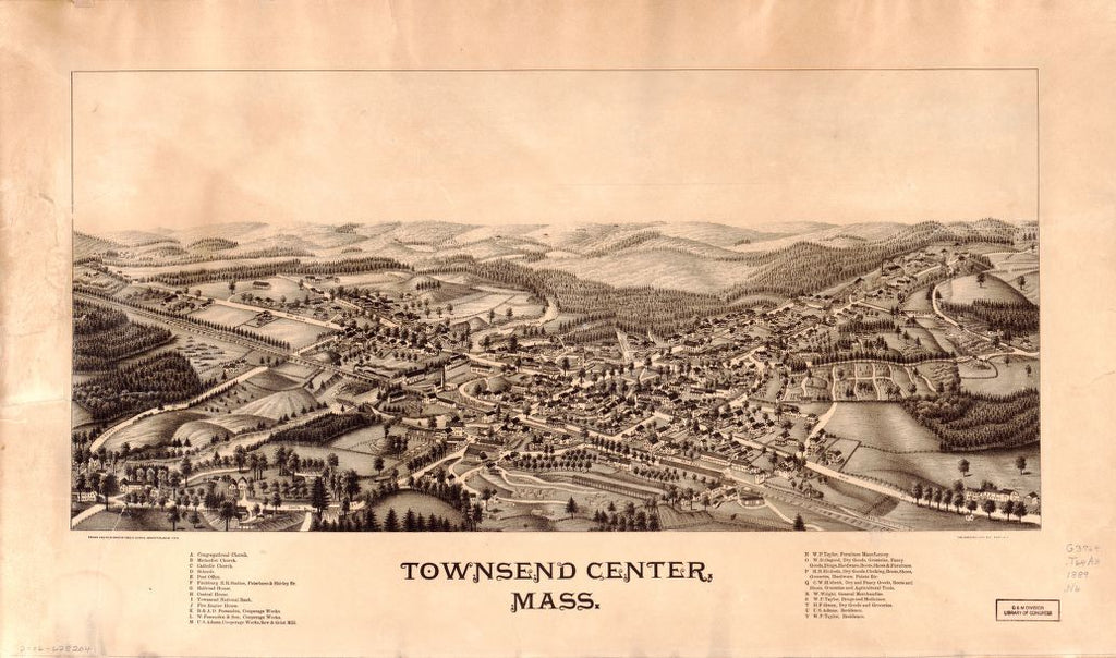 8 x 12 Reproduced Photo of Vintage Old Perspective Birds Eye View Map or Drawing of: Townsend Center, Mass.  Norris, George E. - Burleigh Litho  1889