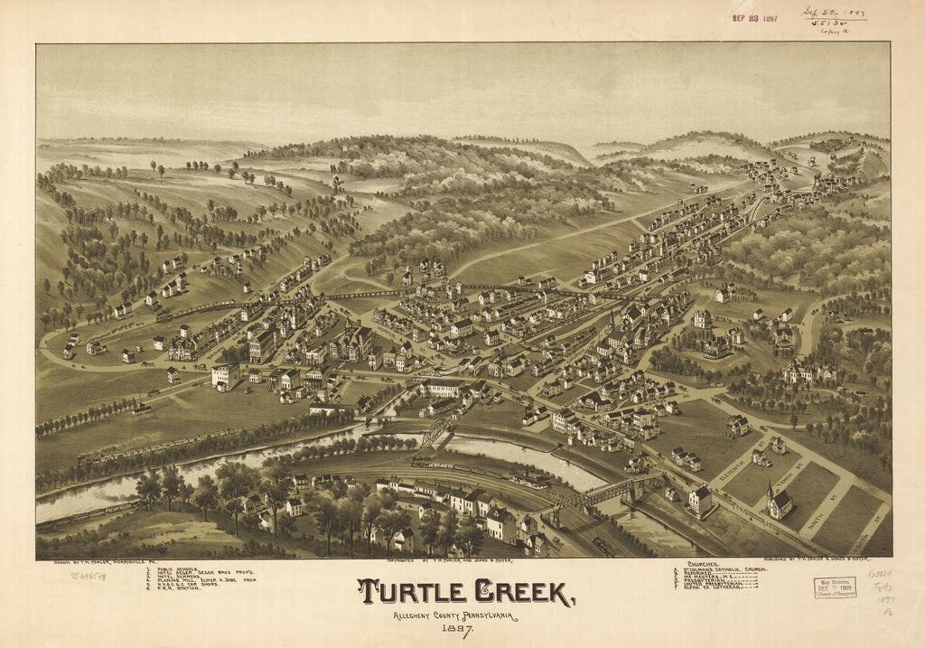 8 x 12 Reproduced Photo of Vintage Old Perspective Birds Eye View Map or Drawing of: Turtle Creek, Allegheny County, Pennsylvania 1897.  Fowler, T. M. - Moyer, James - Fowler, T. M.  1897