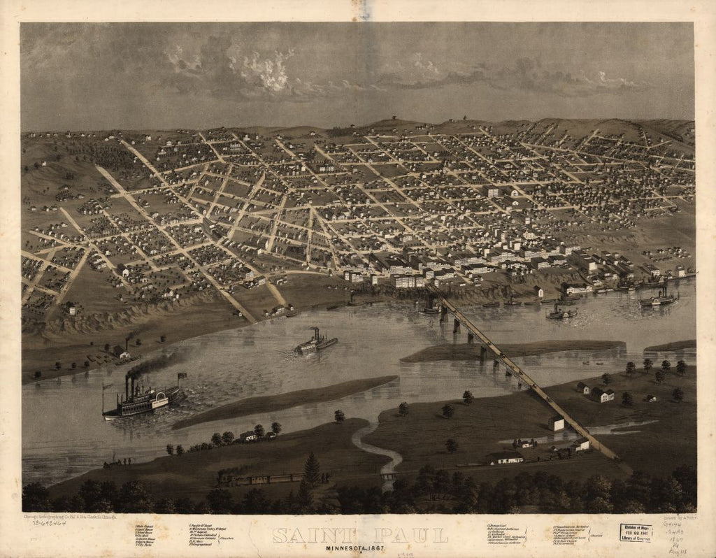 8 x 12 Reproduced Photo of Vintage Old Perspective Birds Eye View Map or Drawing of: Saint Paul, Minnesota 1867. Ruger, A. 1867