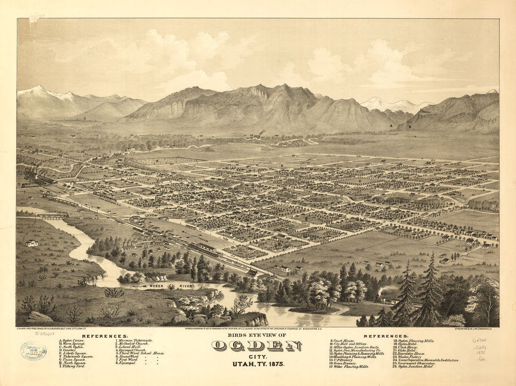 8 x 12 Reproduced Photo of Vintage Old Perspective Birds Eye View Map or Drawing of: Ogden City, Utah, Ty. 1875. Glover, E. S. (Eli Sheldon) c1874