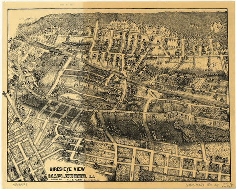 8 x 12 Reproduced Photo of Vintage Old Perspective Birds Eye View Map or Drawing of:  Maplewood, N.J. Wyllie, H. S. (Henry Shaw) - Wyllie, H. S. 1910