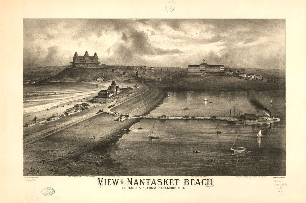 8 x 12 Reproduced Photo of Vintage Old Perspective Birds Eye View Map or Drawing of: Nantasket Beach, looking s.e. from Sagamore Hill.  Mallory, Richard P. - Geo. H. Walker & Co.  1879