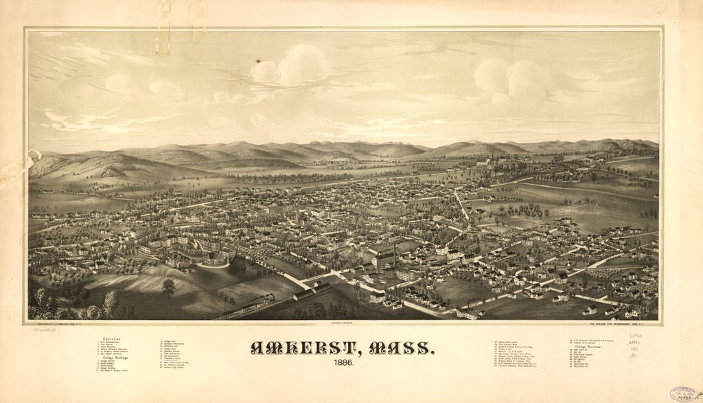 8 x 12 Reproduced Photo of Vintage Old Perspective Birds Eye View Map or Drawing of: Amherst, Mass. 1886.  Burleigh, L. R. (Lucien R.) - Burleigh Litho - Burleigh, L. R.  1886