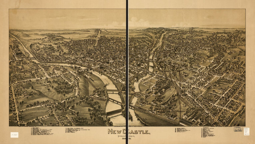 8 x 12 Reproduced Photo of Vintage Old Perspective Birds Eye View Map or Drawing of: New Castle, Pennsylvania 1896 Fowler, T. M. - Moyer, James - Fowler, T. M. 1896
