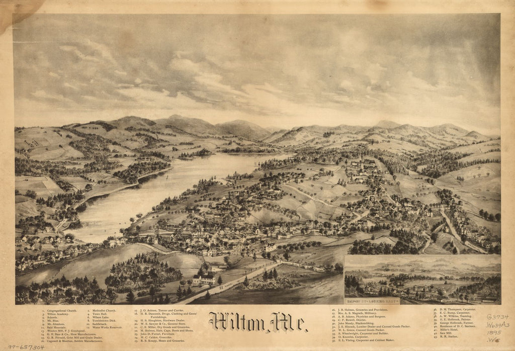 8 x 12 Reproduced Photo of Vintage Old Perspective Birds Eye View Map or Drawing of: Wilton, Me.  None 1895