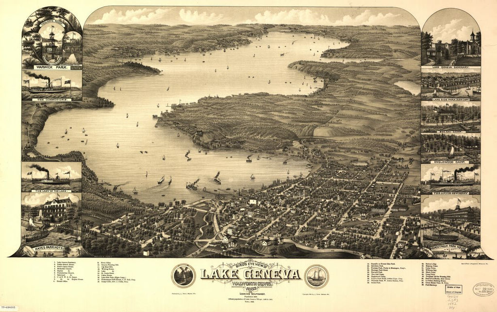8 x 12 Reproduced Photo of Vintage Old Perspective Birds Eye View Map or Drawing of: Lake Geneva, Walworth Co., Wis. 1882. Wellge & Poole. c1882