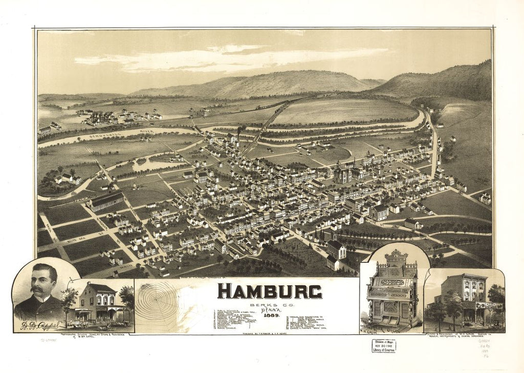 8 x 12 Reproduced Photo of Vintage Old Perspective Birds Eye View Map or Drawing of: Hamburg, Berks Co., Penna. 1889. Fowler, T. M. - Henry, F. P. - Fowler, T. M. 1889