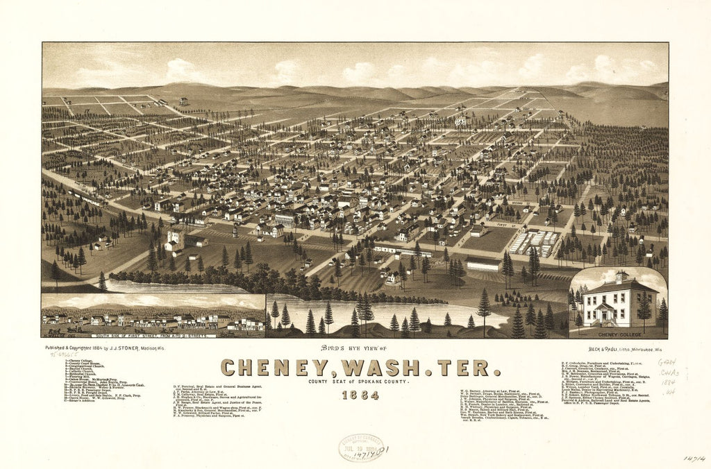8 x 12 Reproduced Photo of Vintage Old Perspective Birds Eye View Map or Drawing of: Cheney, Wash. Ter., county seat of Spokane County, 1884. Wellge, H. (Henry) 1884