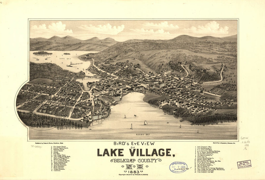 8 x 12 Reproduced Photo of Vintage Old Perspective Birds Eye View Map or Drawing of: Lake Village, Belknap County, N.H. 1883.   Poole & Norris - Beck & Pauli  1883