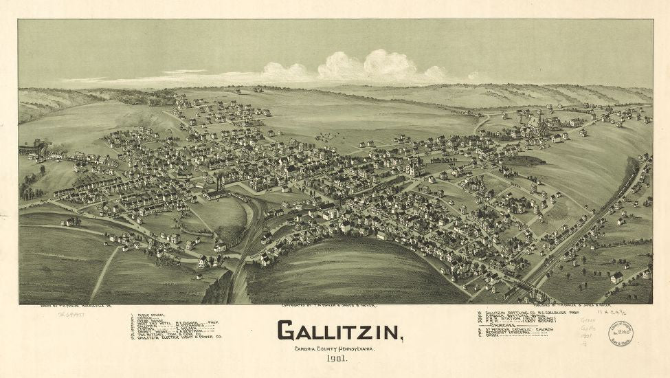 8 x 12 Reproduced Photo of Vintage Old Perspective Birds Eye View Map or Drawing of: Gallitzin, Cambria County, Pennsylvania 1901. Fowler, T. M. - Moyer, James - Fowler, T. M. 1901