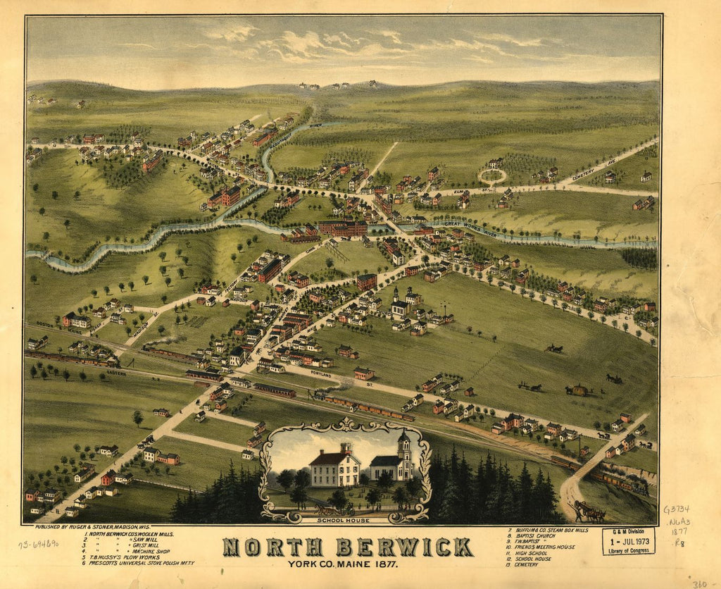 8 x 12 Reproduced Photo of Vintage Old Perspective Birds Eye View Map or Drawing of: North Berwick, York Co., Maine 1877.  Ruger & Stoner  1877
