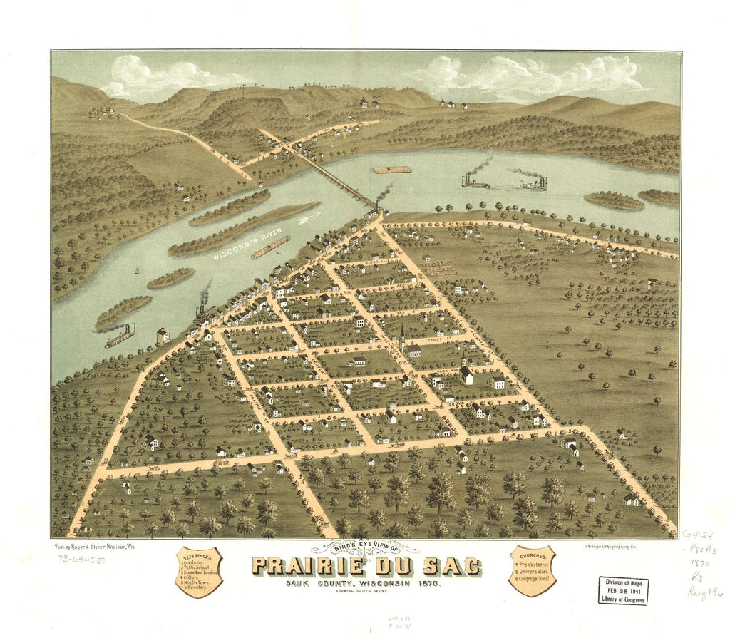 8 x 12 Reproduced Photo of Vintage Old Perspective Birds Eye View Map or Drawing of: Prairie du Sac, Sauk County, Wisconsin 1870. [Ruger, A.] 1870