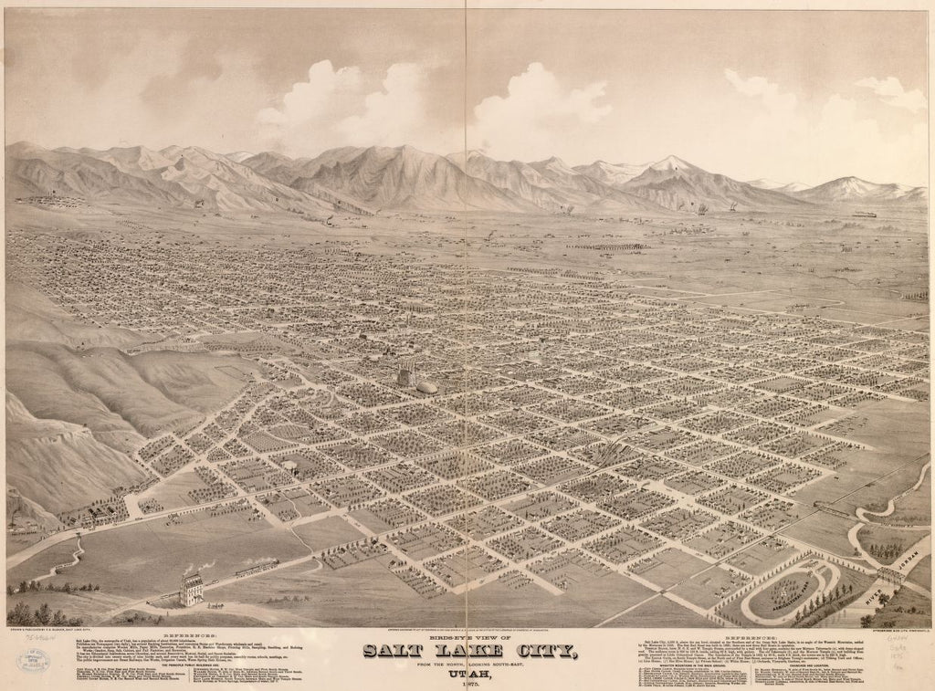 8 x 12 Reproduced Photo of Vintage Old Perspective Birds Eye View Map or Drawing of: Salt Lake City, Utah 1875. Glover, E. S. (Eli Sheldon) 1875