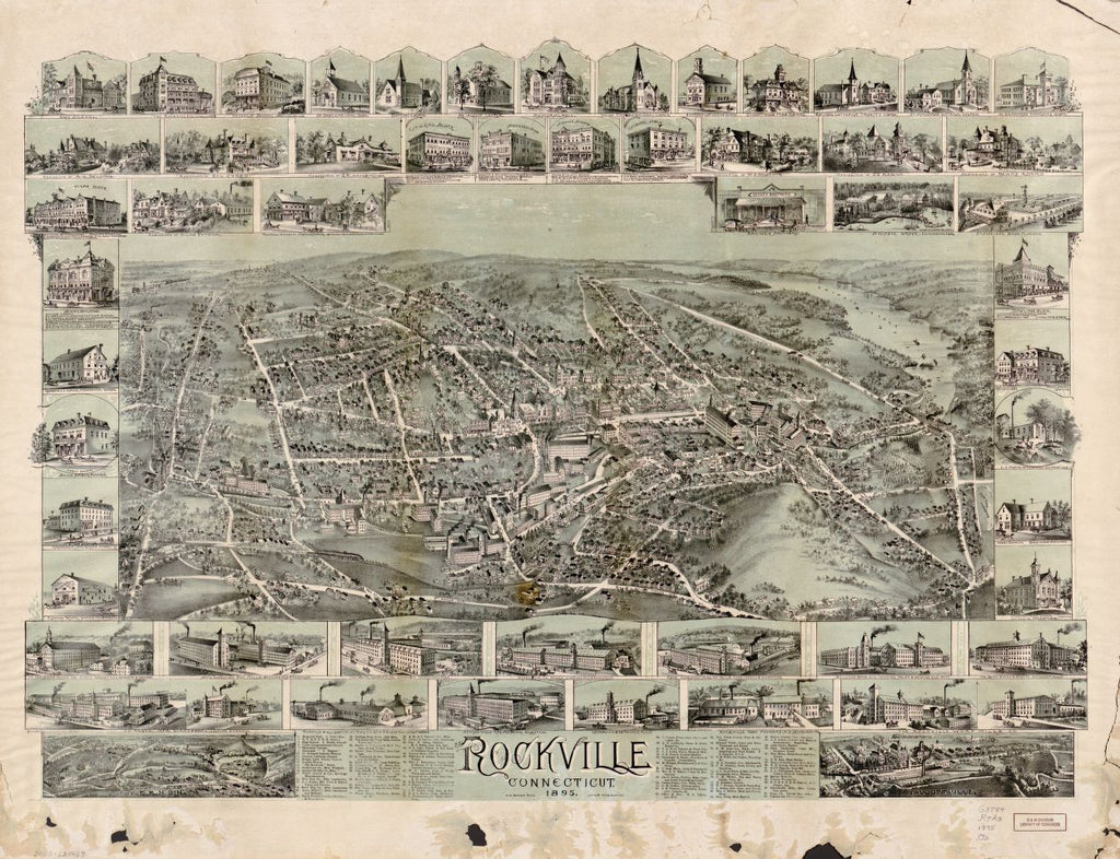 8 x 12 Reproduced Photo of Vintage Old Perspective Birds Eye View Map or Drawing of: Rockville, Connecticut, 1895.  O.H. Bailey & Co.  1895