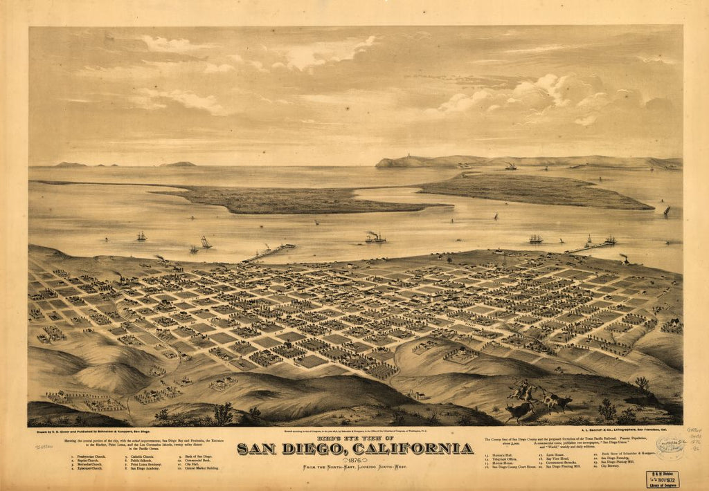 8 x 12 Reproduced Photo of Vintage Old Perspective Birds Eye View Map or Drawing of: San Diego, California 1876. Glover, E. S. (Eli Sheldon), 1844-1920. 1876