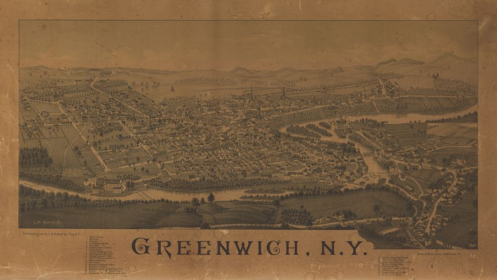 8 x 12 Reproduced Photo of Vintage Old Perspective Birds Eye View Map or Drawing of: Greenwich, N.Y. Burleigh, L. R. (Lucien R.) - Beck & Pauli - Burleigh, L. R. 1885