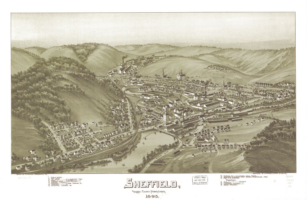8 x 12 Reproduced Photo of Vintage Old Perspective Birds Eye View Map or Drawing of: Sheffield, Warren County, Pennsylvania, 1895.   Fowler, T. M. - Moyer, James - Fowler, T. M.  1895