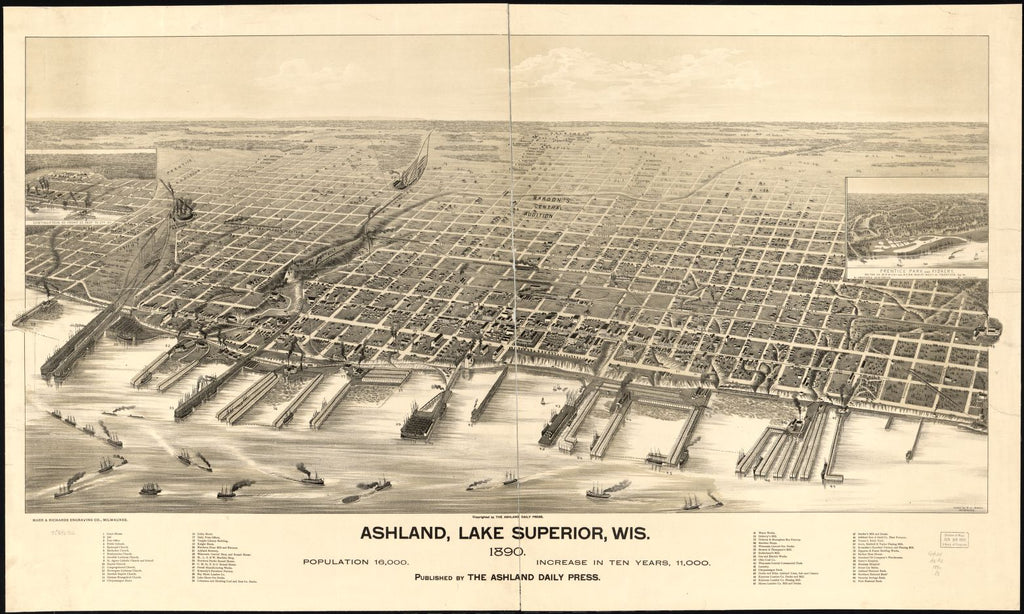 8 x 12 Reproduced Photo of Vintage Old Perspective Birds Eye View Map or Drawing of: Ashland, Lake Superior, Wis. 1890. Pauli, C. J. 1890