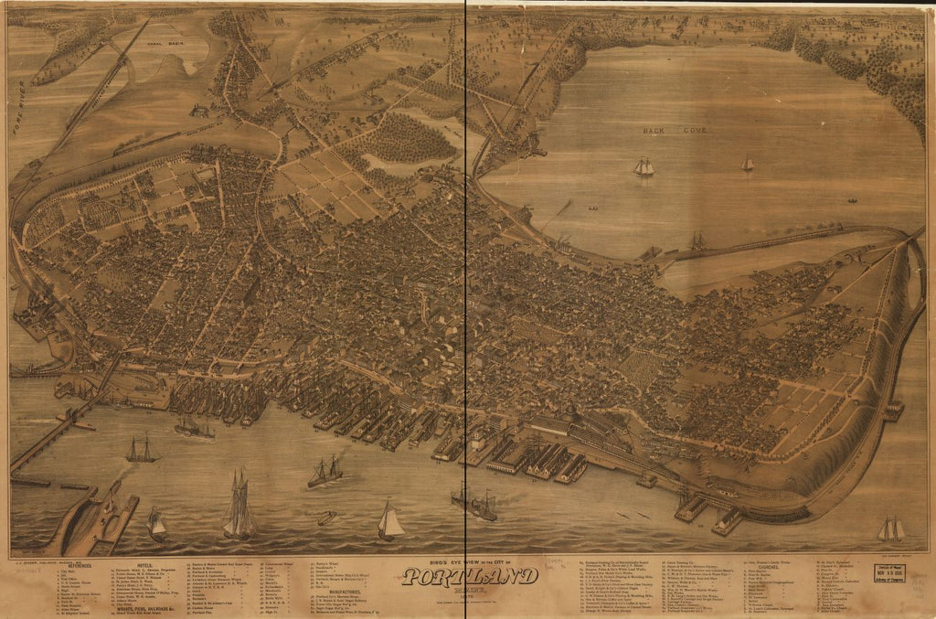 8 x 12 Reproduced Photo of Vintage Old Perspective Birds Eye View Map or Drawing of: Portland, Maine 1876.  Warner, Jos - Stoner, J. J. - Charles Shober & Co. - Chicago Lithographing Co.  1876