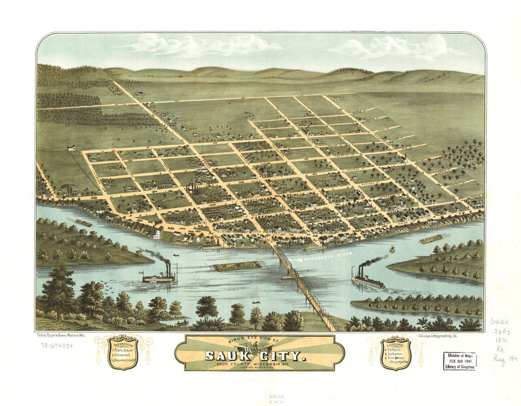 8 x 12 Reproduced Photo of Vintage Old Perspective Birds Eye View Map or Drawing of: Sauk City, Sauk County, Wisconsin 1870. [Ruger, A.] 1870