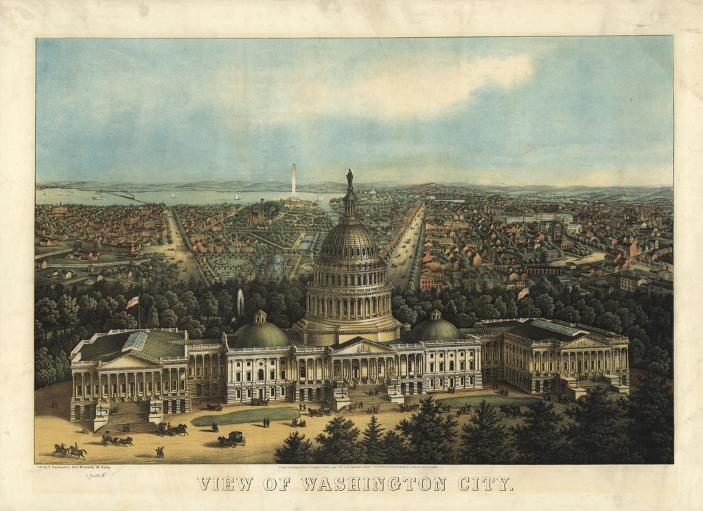 8 x 12 Reproduced Photo of Vintage Old Perspective Birds Eye View Map or Drawing of: Washington City. E. Sachse & Co. 1871