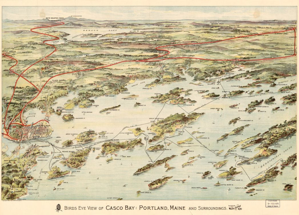 8 x 12 Reproduced Photo of Vintage Old Perspective Birds Eye View Map or Drawing of: Casco Bay, Portland, Maine, and surroundings. Geo. H. Walker & Co. - Maine Central Railroad Company 1906