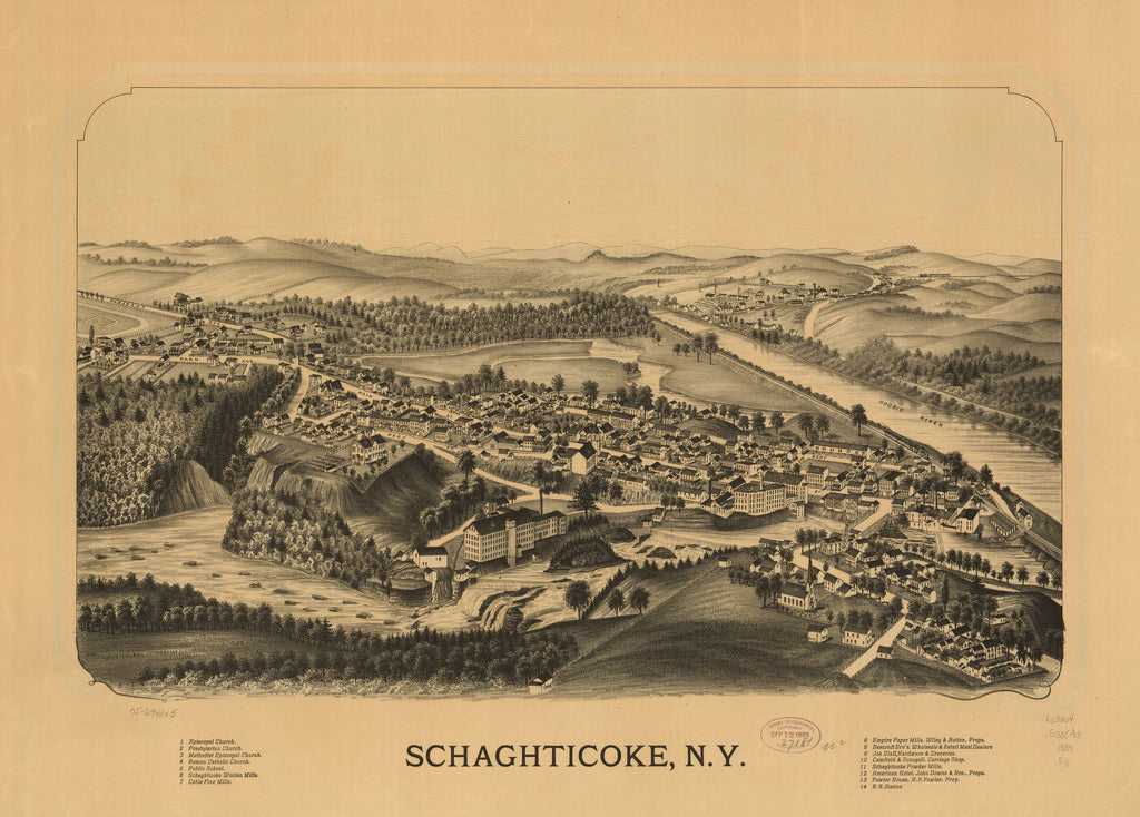 8 x 12 Reproduced Photo of Vintage Old Perspective Birds Eye View Map or Drawing of: Schaghticoke, N.Y. none 1889