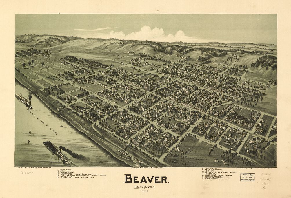 8 x 12 Reproduced Photo of Vintage Old Perspective Birds Eye View Map or Drawing of: Beaver, Pennsylvania 1900. Fowler, T. M. - Moyer, James - Fowler, T. M. 1900