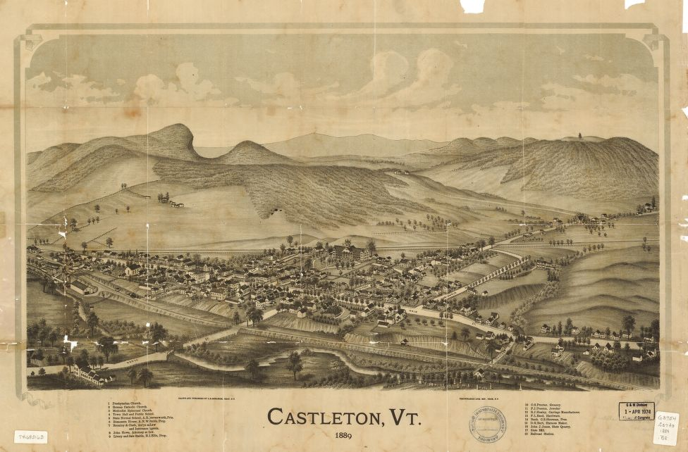 8 x 12 Reproduced Photo of Vintage Old Perspective Birds Eye View Map or Drawing of: Castleton, Vt. 1889.  Burleigh, L. R. (Lucien R.) - Burleigh Litho - Burleigh, L. R.  1889