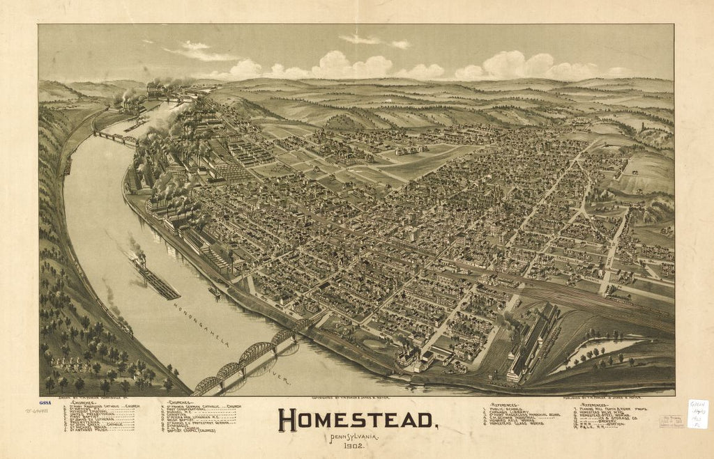 8 x 12 Reproduced Photo of Vintage Old Perspective Birds Eye View Map or Drawing of: Homestead, Pennsylvania, 1902. Fowler, T. M. - Moyer, James - Fowler, T. M. 1902