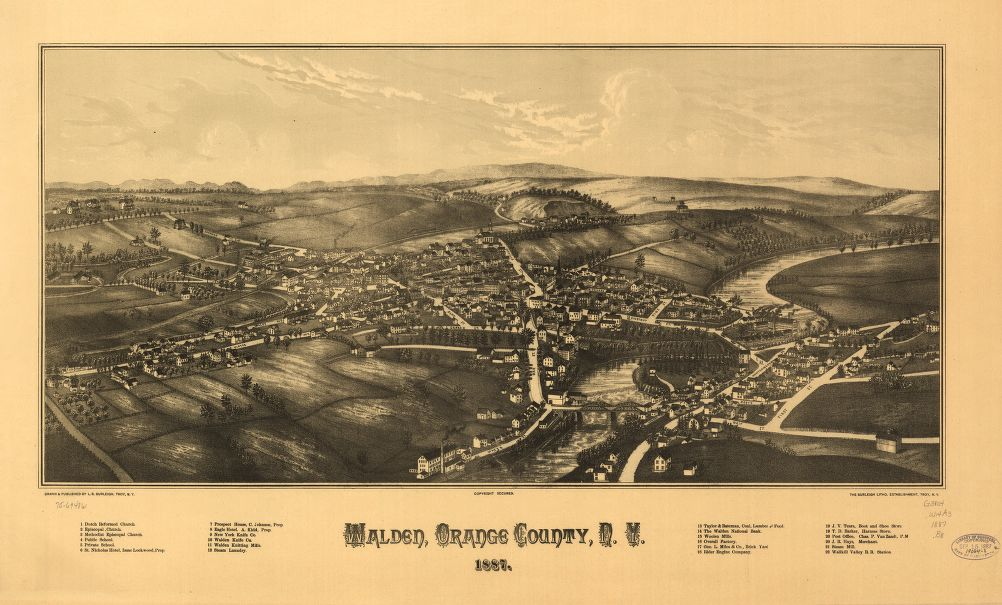 8 x 12 Reproduced Photo of Vintage Old Perspective Birds Eye View Map or Drawing of: Walden, Orange County, N.Y. 1887. Burleigh, L. R. (Lucien R.) - Burleigh Litho - Burleigh, L. R. 1887