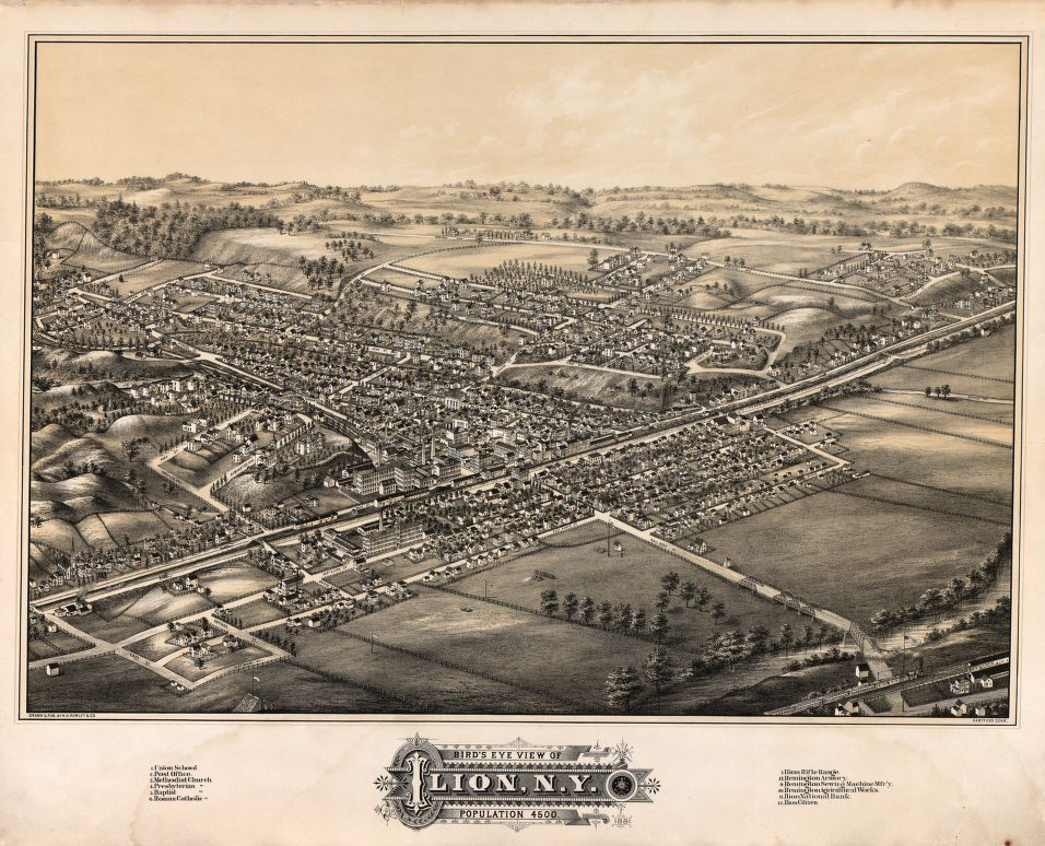 8 x 12 Reproduced Photo of Vintage Old Perspective Birds Eye View Map or Drawing of: Ilion, N.Y. : population 4500 H.H. Rowley & Co. 1881