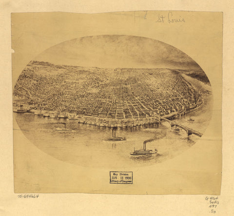 8 x 12 Reproduced Photo of Vintage Old Perspective Birds Eye View Map or Drawing of: [St. Louis. - Saint Louis (Mo.)--Aerial views 1897
