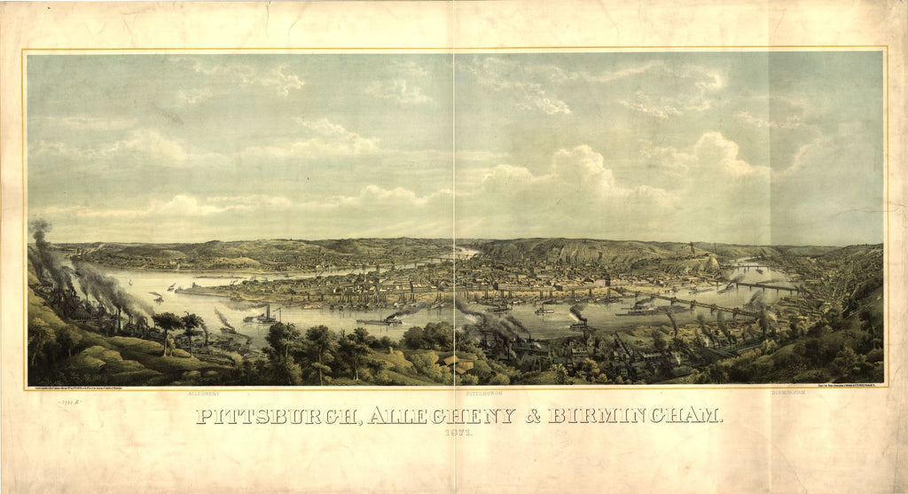8 x 12 Reproduced Photo of Vintage Old Perspective Birds Eye View Map or Drawing of: Pittsburgh, Allegheny & Birmingham / drawn from nature, lithographed & published by Otto Krebs, Pittsburgh, Pa Krebs, Otto 1871