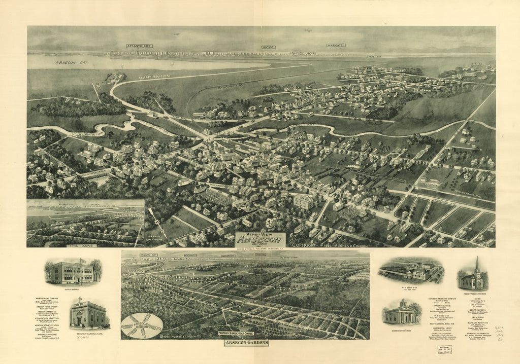 8 x 12 Reproduced Photo of Vintage Old Perspective Birds Eye View Map or Drawing of: Absecon, New Jersey 1924. Cinquin, Rene - Hughes & Cinquin 1924