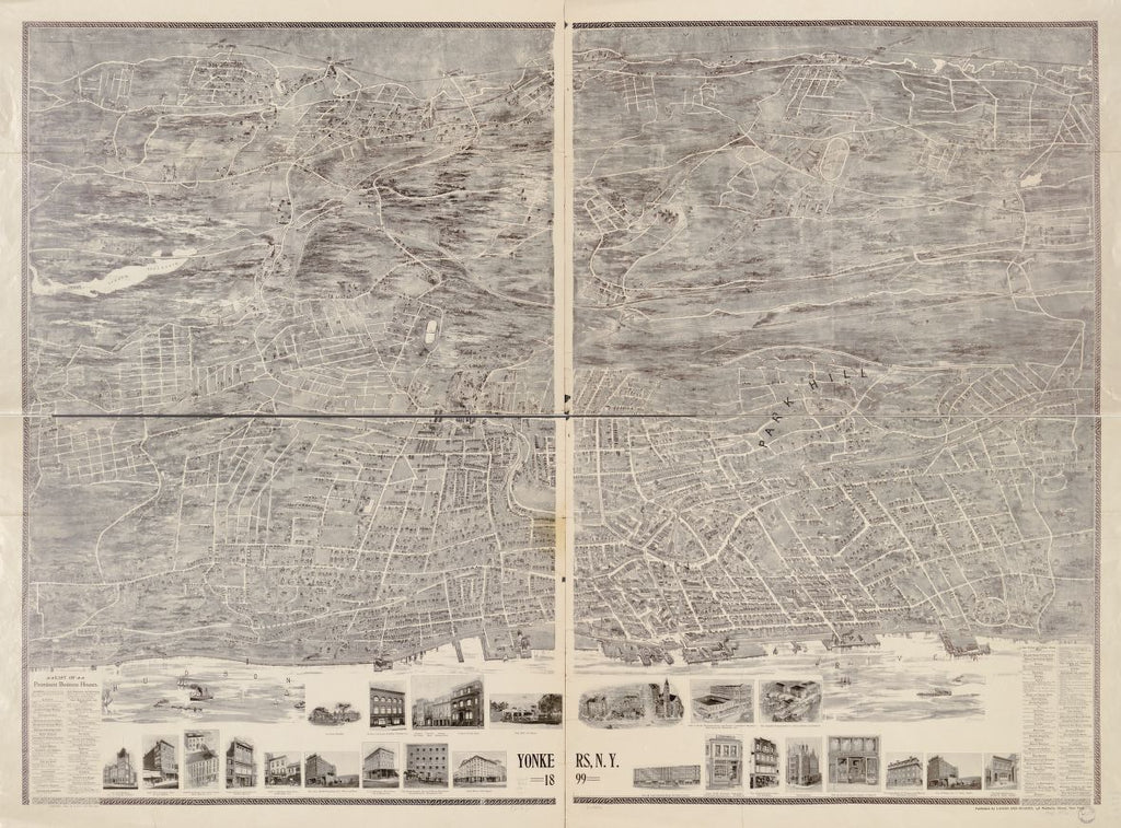 8 x 12 Reproduced Photo of Vintage Old Perspective Birds Eye View Map or Drawing of: Yonkers, N.Y. 1899. Landis and Hughes 1899