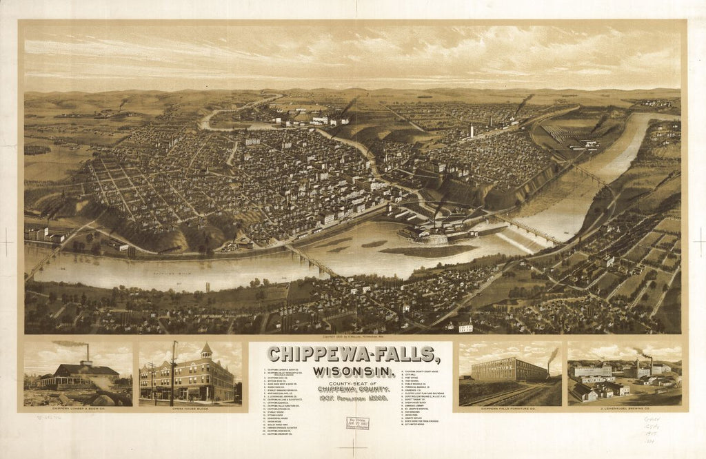 8 x 12 Reproduced Photo of Vintage Old Perspective Birds Eye View Map or Drawing of: Chippewa-Falls, Wisonsin [sic] county-seat of Chippewa County 1907. Wellge, H. (Henry) c1906