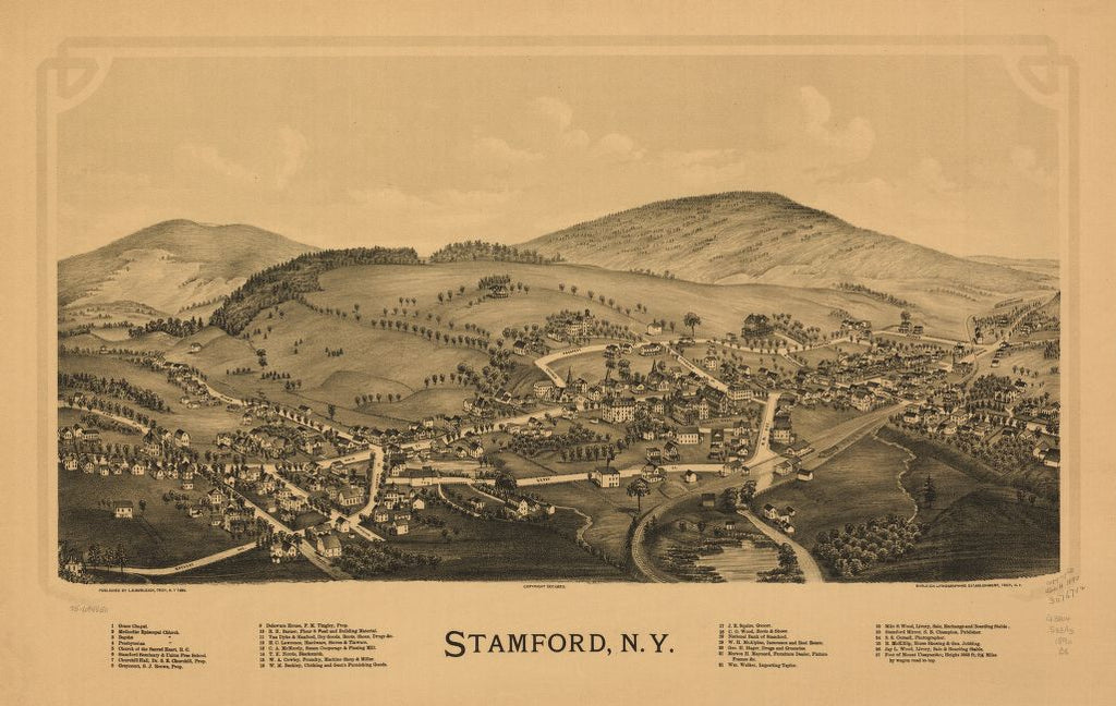 8 x 12 Reproduced Photo of Vintage Old Perspective Birds Eye View Map or Drawing of: Stamford, N.Y. Burleigh, L. R. (Lucien R.) - Burleigh Litho - Burleigh, L. R. 1890