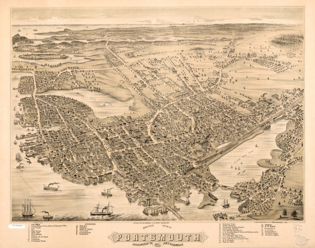 8 x 12 Reproduced Photo of Vintage Old Perspective Birds Eye View Map or Drawing of: Portsmouth, Rockingham Co., New Hampshire.  Ruger, A. - Stoner, J. J. - D. Bremner Co.  1877