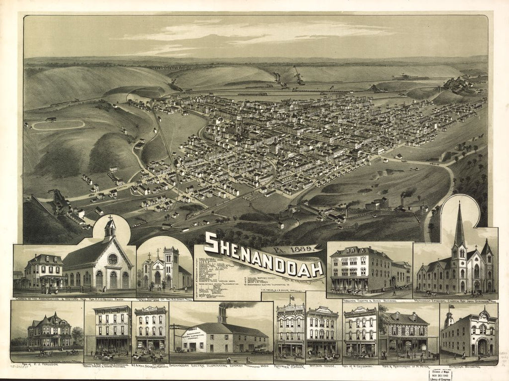 8 x 12 Reproduced Photo of Vintage Old Perspective Birds Eye View Map or Drawing of: Shenandoah, Pa. 1889.  Fowler, T. M. - Moyer, James - Fowler, T. M.  1889