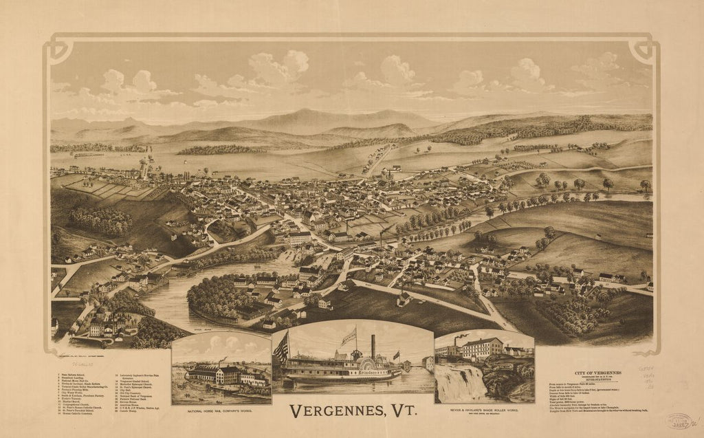 8 x 12 Reproduced Photo of Vintage Old Perspective Birds Eye View Map or Drawing of: Vergennes, Vt.  Burleigh Litho  1890