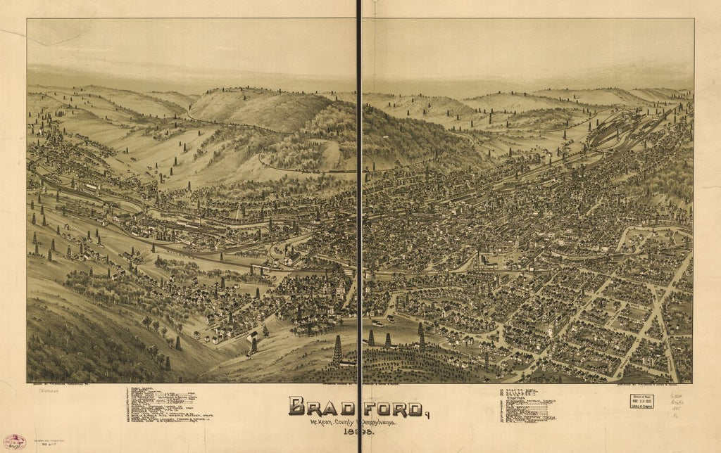 8 x 12 Reproduced Photo of Vintage Old Perspective Birds Eye View Map or Drawing of: Bradford, McKean County, Pennsylvania, 1895. Fowler, T. M. - Moyer, James - Fowler, T. M. 1895
