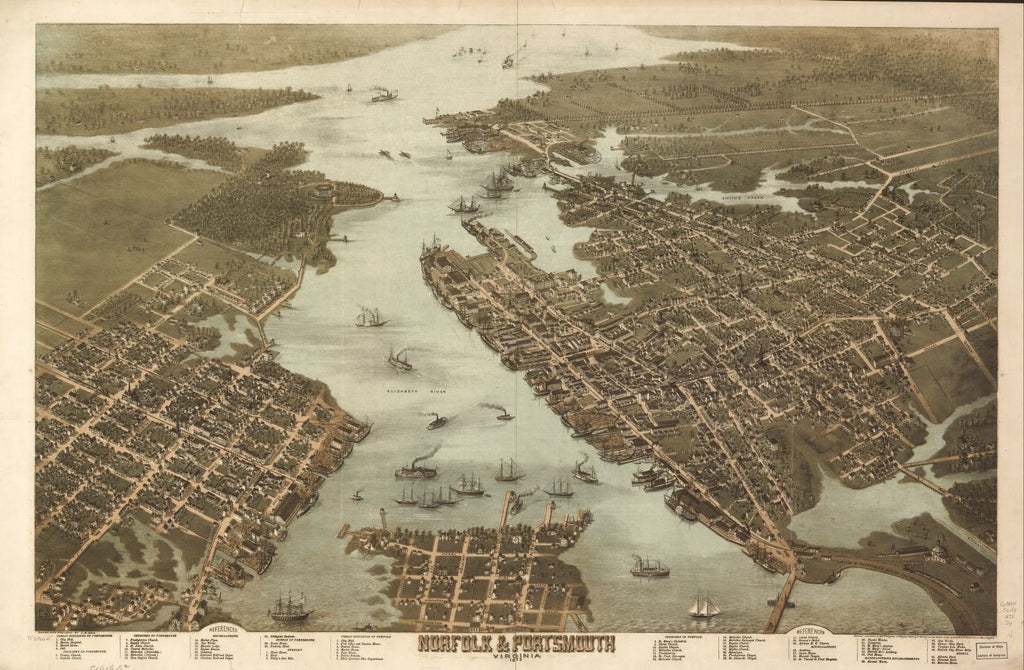 8 x 12 Reproduced Photo of Vintage Old Perspective Birds Eye View Map or Drawing of: Norfolk & Portsmouth, Virginia 1873. Drie, C. N. 1873