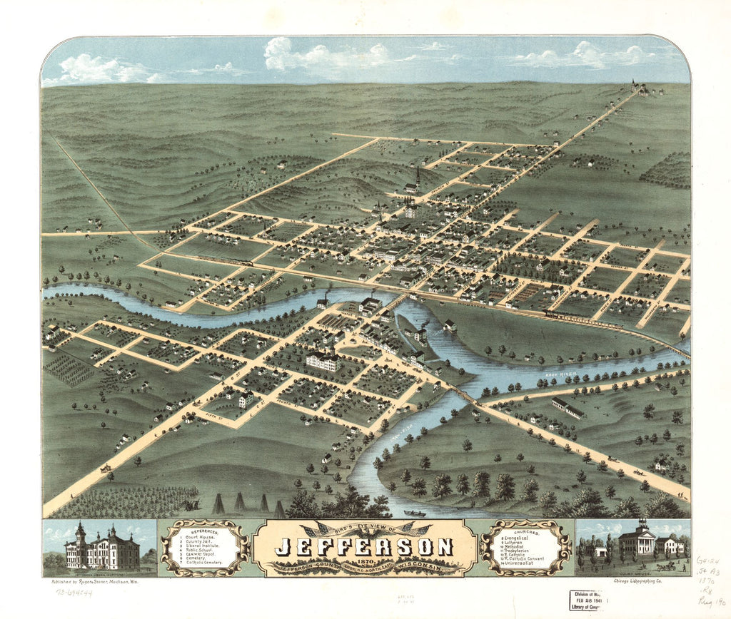 8 x 12 Reproduced Photo of Vintage Old Perspective Birds Eye View Map or Drawing of: Jefferson, Jefferson County, Wisconsin 1870. [Ruger, A.] 1870