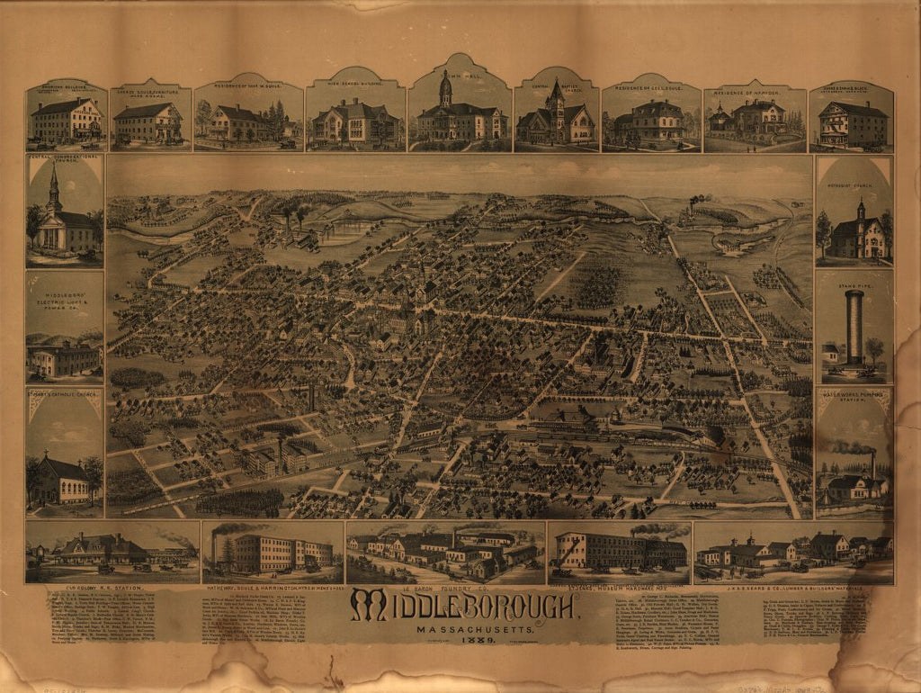 8 x 12 Reproduced Photo of Vintage Old Perspective Birds Eye View Map or Drawing of: Middleborough, Massachusetts.  O.H. Bailey & Co.  1889