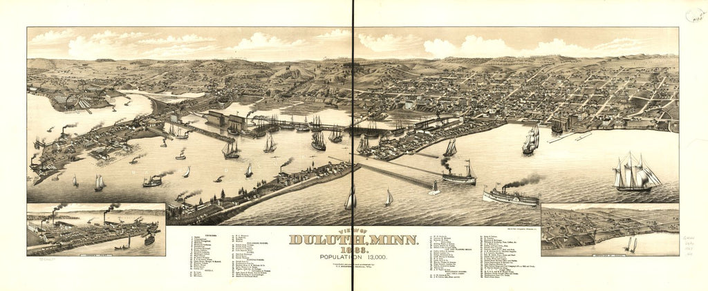 8 x 12 Reproduced Photo of Vintage Old Perspective Birds Eye View Map or Drawing of: Duluth, Minn. 1883. Wellge, H. (Henry) 1883