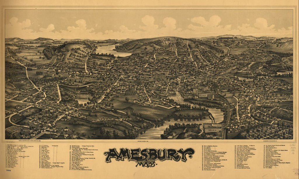 8 x 12 Reproduced Photo of Vintage Old Perspective Birds Eye View Map or Drawing of: Amesbury, Mass.   Norris, George E. - Burleigh Litho  1890