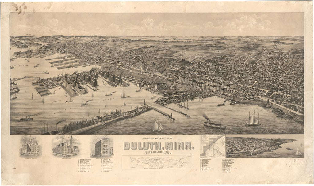8 x 12 Reproduced Photo of Vintage Old Perspective Birds Eye View Map or Drawing of: Duluth, Minn. American Publishing Co. (Milwaukee, Wis.) 1893