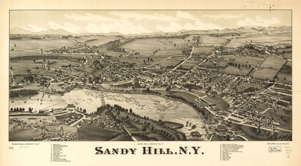 8 x 12 Reproduced Photo of Vintage Old Perspective Birds Eye View Map or Drawing of: Sandy Hill, N.Y. Burleigh, L. R. (Lucien R.) - Beck & Pauli - Burleigh, L. R. 1884