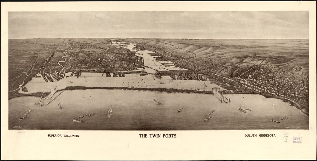 8 x 12 Reproduced Photo of Vintage Old Perspective Birds Eye View Map or Drawing of: The twin ports, Superior, Wisconsin, Duluth, Minnesota. Bradley-Brink Co. c1915